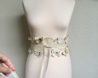 Flying Butterfly - Handmade Cream Italian Real Leather Obi Belt Hand Cut Scalloped Lace with Butterflies in Silk Organza and Cotton Fabric