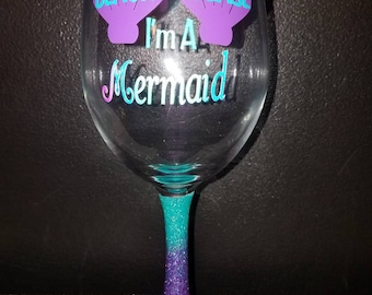 Beach please I'm a mermaid purple and aqua ombre sparkled wine glass