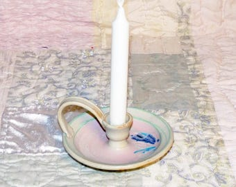 Hand Thrown Candlestick Holder with Handle - 1170