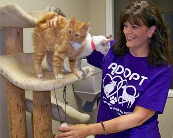 Cat shirt, Dog tshirt, ADOPT t shirt, animal rescue, American Apparel, graphic tee, typography t-shirt, purple, message tee, typographic