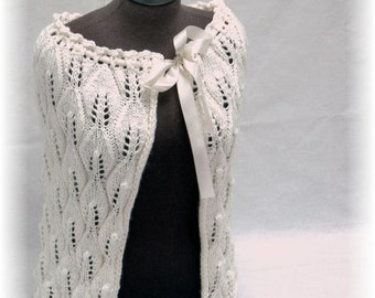 """Bridal Wedding Shrug / Cape / Shoulder Warmer """"Catalpa"""", handknit in intricate Lace Pattern - ideal for Spring Weddings"""