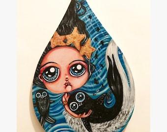 Selkie love original cute Kawaii painting seals traditional art home decor