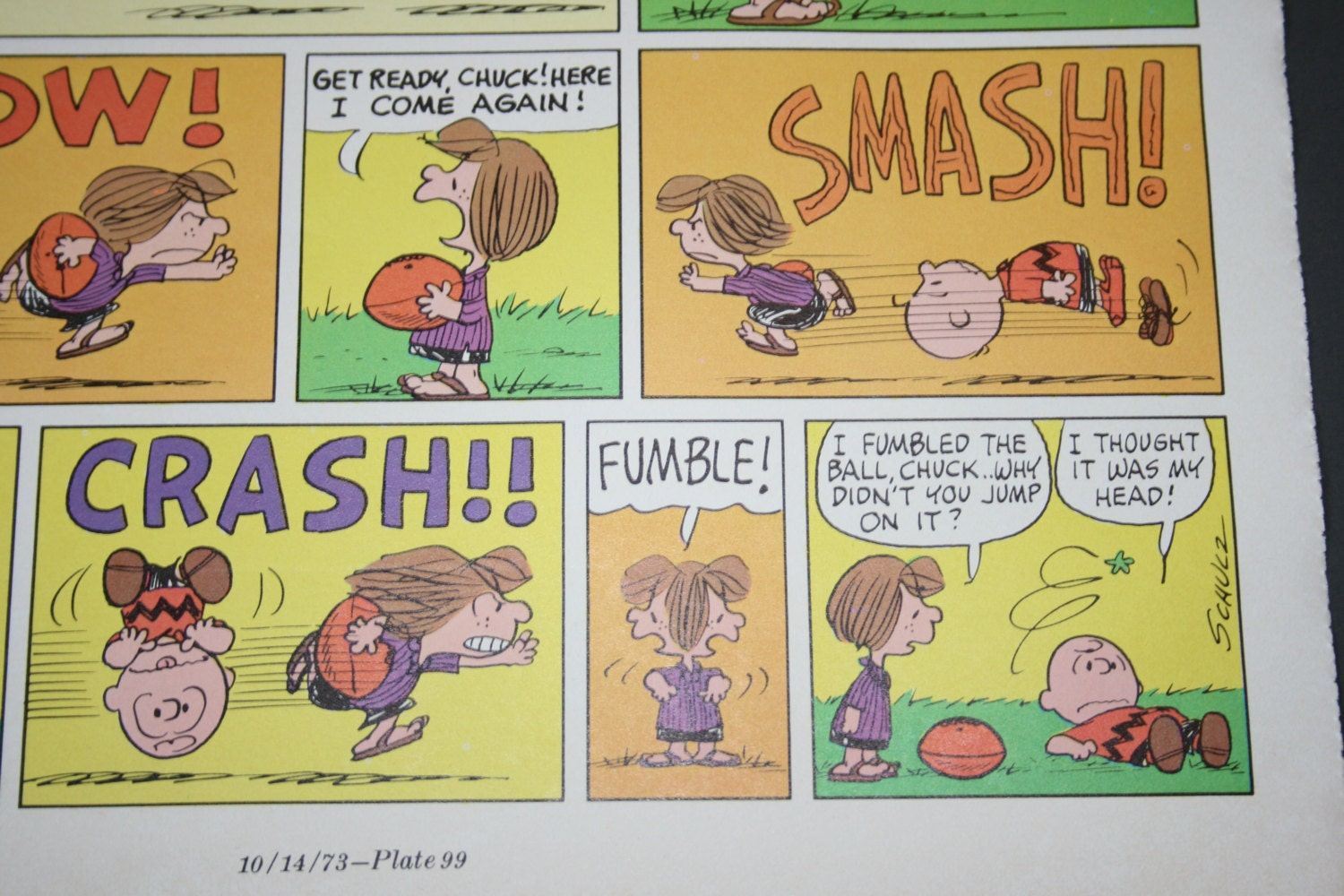 Comic Peppermint Patty Plays Football Charlie Brown Fumble