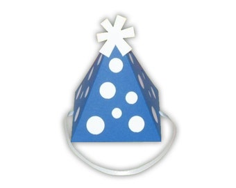 Polka Dot Birthday Hat Favor Box Printable Color Template Digital PDF (custom colors available)