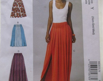 McCalls Sewing Pattern M6931 Sizes Xsm - Med Misses Skirts 3 lengths 4 Styles