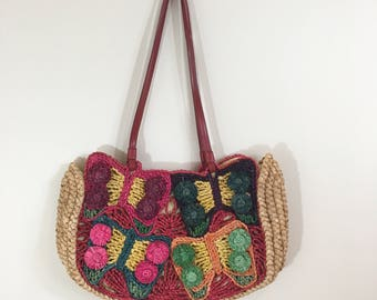 90s Hype Rainbow Butterfly Straw Large Tote Shoulder Bag Purse