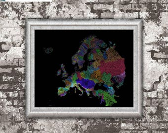 River basins of Europe in rainbow colours (high resolution digital print) map print, wall art, poster map, printable, home decor, wall decor