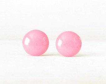 Cotton Candy Pink Studs, Pink Earrings, Small Round Post Earrings, pink stud earrings, pink post earrings