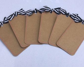 Kraft Paper Tags, Stripe Ribbon, READY to SHIP, Set of 6 Tags