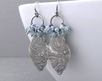 Blue Crystal Earrings Silver Drop Earrings Boho Earrings Crystal Cluster Earrings Bohemian Jewelry Unique Silver Jewelry Gift for Her - Beth