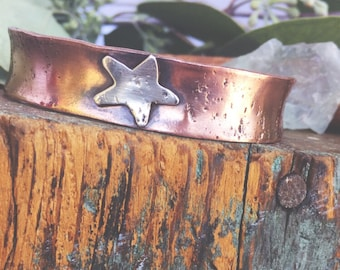 Dreamer  copper and sterling silver star wide thick rustic cuff bracelet eclipse sale