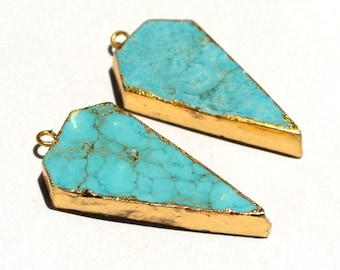 24Kt Gold Electroplated Edge Howlite Turquoise Arrowhead Pendant, 34 - 36mm Gold Layered Single Bail Pendant, Charm SKU875