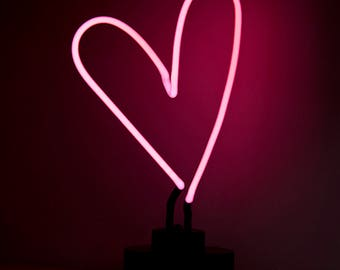 Pink Heart Neon Table Lamp Decor Love