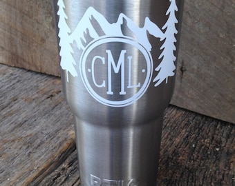 Mountains and Trees Monogram Adventure Wilderness DECAL ONLY Tumbler Car Laptop Decal