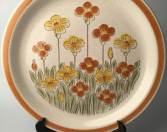 Vintage (c.1970s) Field Flowers Fuji Stoneware Oven to Table to Dishwasher Serving Plate 3231