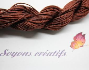 28 m thread nylon braided 1 mm Brown - creating jewelry