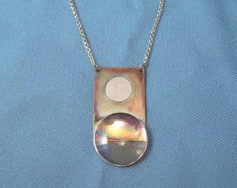 Modern Design Copper, Silver and Ametrine Pendant