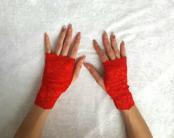 RED lace fingerless mittens Black Lace Mittens White lace Fingerless Gloves