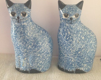 Vintage Pair Of Blue Spongeware/Spatterware Ceramic Cats--Bookends/Doorstops--Blue and White Bodies With Black Ears--Circa 1980's