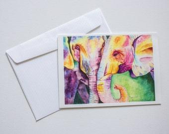 Watercolour Elephant Blank Greeting Cards Art by Breanna Deis