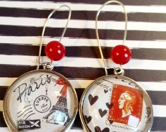 Ethnic earring pendant original ethnic chic vintage black white red Paris eiffel tower