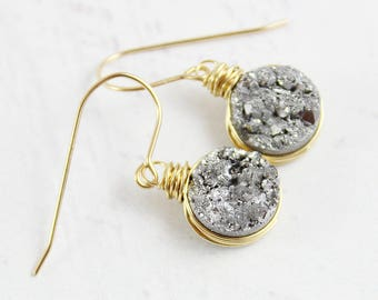Silver Druzy Earrings, Wire Wrap Earrings, Drusy Quartz Earrings, Gold Fill Earrings, Round Circle Earrings, Dangle Drop Earrings, Gemstone