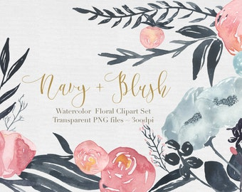 Watercolor Flowers  Clipart Files - High Res Transparent PNG - Navy & Blush Hand Painted Digital Scrapbook elements - Instant download