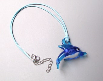 Handmade blue waxed cord with Dolphin pendant necklace
