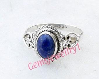 Lapis lazuli Ring, Blue Stone Ring,  Lapis Ring, Lapis Stone Ring, 925 Sterling Silver Ring, Natural Lapis Ring, Girls Ring, Gemstone Ring