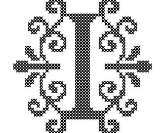 Monogram Cross Stitch Pattern, Initial Cross Stitch Pattern, Letter I cross stitch pattern, Ornament Cross stitch pattern