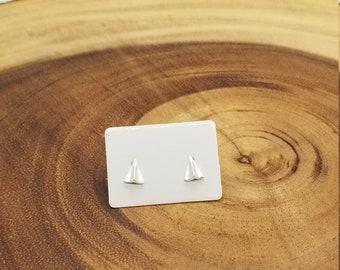 Paper airplane sterling silver stud earrings