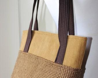 Textured Tan Tote Bag Purse