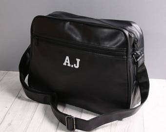 Personalised Retro Messenger With Shoulder Strap, Embroider Your Initials, Personalised Gift, School Bag, Work Bag, Weekender