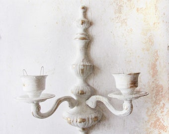 Vintage Ornate Wall Sconce Candleholder. White Shabby Distressed. French Chic Farmhouse.