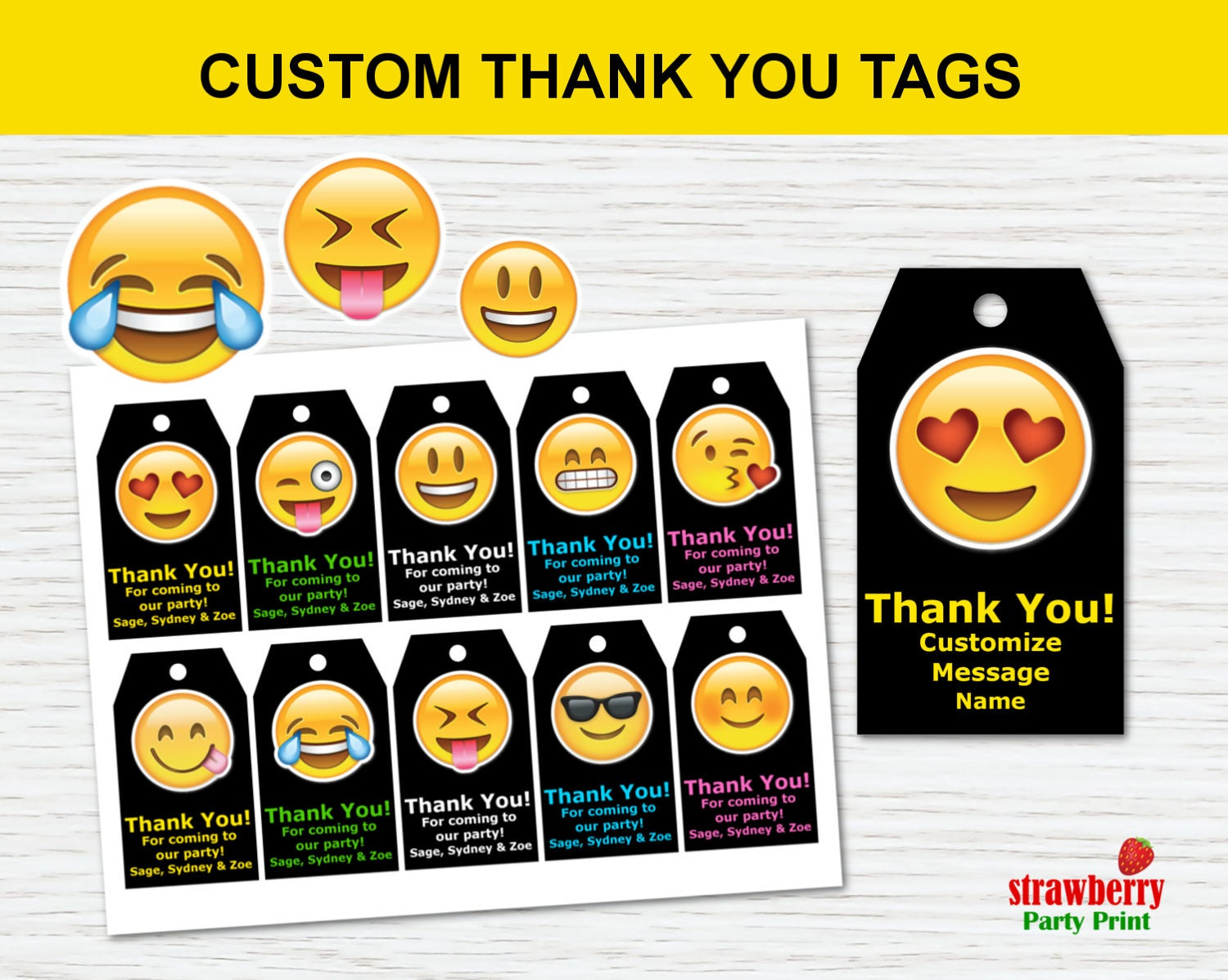 Emoji Favor Tags Custom Emoji Favor Tags Printable Emoji
