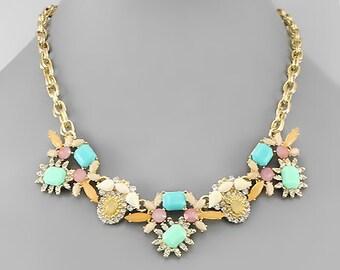 Pastel Bead Statement Necklace