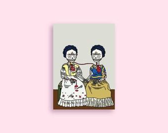 """Frida Kahlo 5x7 Illustrated Print - Dia De Los Muertos / Day of the Dead - """"Las Dos Calaveras"""""""
