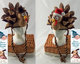 Crochet Pattern 073 - Holidurkey Turkey Hat - All Sizes