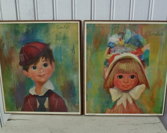 2 Soulet Prints Wall Plaques. Boy & Girl Pictures, Pair. Big Eyes. Vintage 1960s. French Artist. Printed in England. Mid Century.