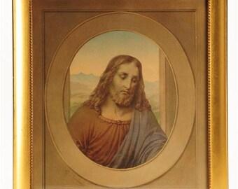 19th Century Italian Icon - original Painting of Jesus Christ by Carlo Barbieri -signed