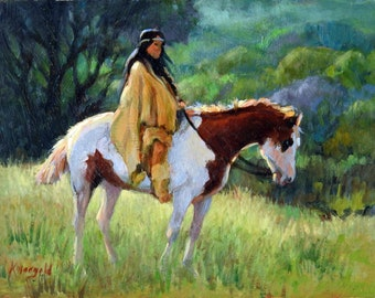 Original oil painting UNFRAMED on panel.  Native American Woman on horse, 8 x 10, wall art, gift for women, home decor, painting, natural