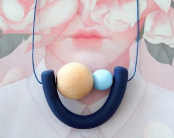 Handmade Polymer Clay Necklace - U Two Bead - Denmark Collection