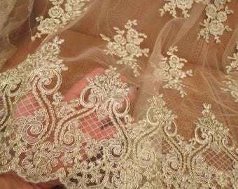 Vintage Golden Fringe Lace  Floral Embroidery Lace Fabric  Gold Corded Lace  Tulle 47 ''Wide for Wedding Dress, Veil, Craft Making, 0.5 Yard