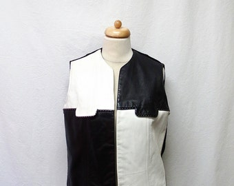 1960s Vintage Wool Knit & Leather Vest / Black and White Colour Block Top