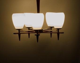 Teak Chandelier, Mid Century Chandelier, Mid Century Modern Lighting