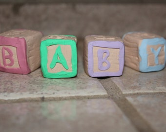 Customized baby block cake toppers ~ Baby Shower ~ Polymer clay