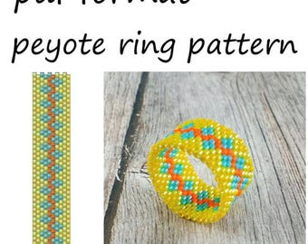 Yellow blue ring pattern for beading Pattern download Beadwork ring Delica bead pattern Yellow blue jewelry pattern Peyote jewelry making