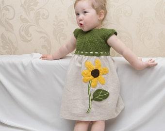ChristmasInJuly Sunflower ECO-dress, Baby Toddler girl natural Linen and cotton Dress,handmade crochet, summer green dress, yellow
