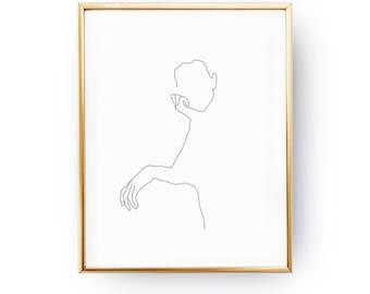 Thoughtful Woman Print, Woman Illustration, Line Drawing Print, Female Art, Black And White, Minimal Art, Female Silhouette, Single Line Art