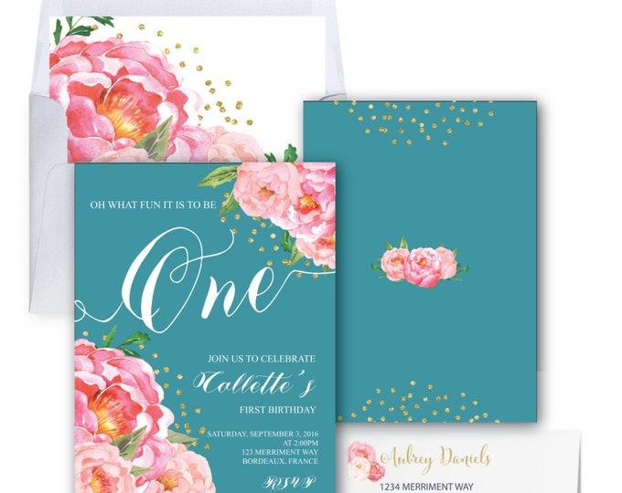 First Birthday Invitation // One // Teal // Peonies // Peony // Teal Blue / Birthday Invitation / Pink / Gold Glitter // BORDEAUX COLLECTION